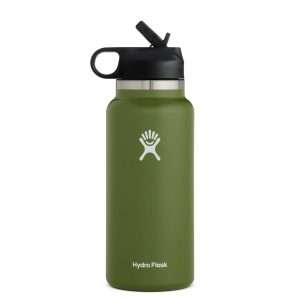HYDRO FLASK 32 OZ WIDE MOUTH WITH STRAW LID OLIVE
