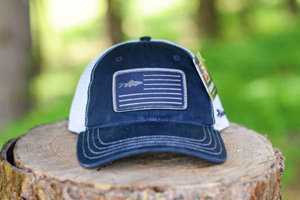 Mahoney's American Flag w/ Trout Trucker Hat - Garment-Washed - Navy/White