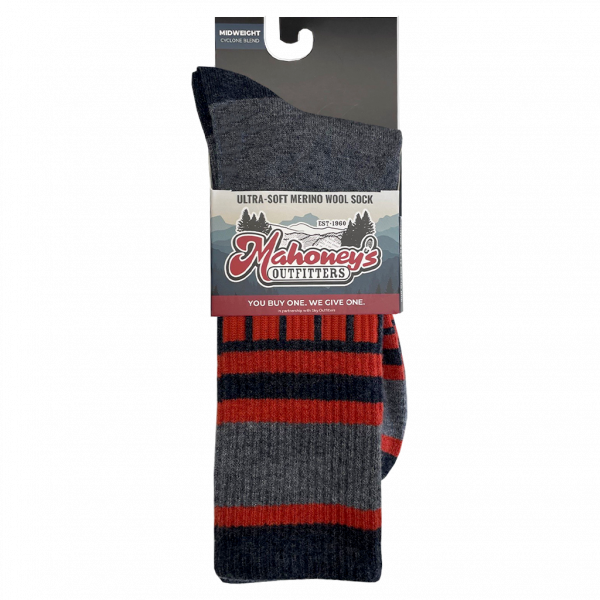 Mahoney's Merino Wool Crew Socks - GRAY SQUARE