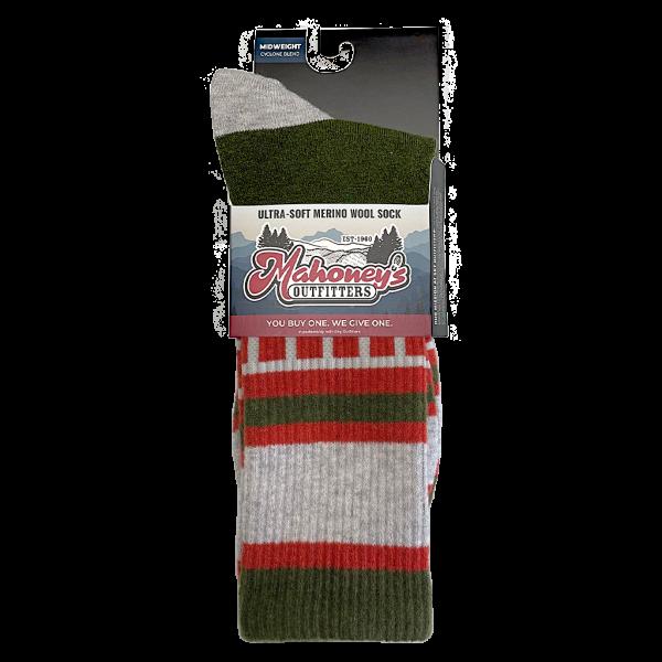 Mahoney's Merino Wool Crew Socks - GREEN SQUARE