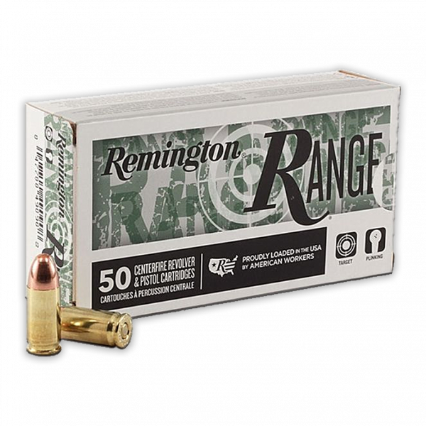 Remington Range 9mm 115 GR FMJ Ammunition, 50 Rounds